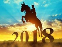 Silhouetteer de ruiter die op het paard in het Nieuwjaar 2018 springen Stock Foto's