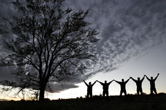 silhouetteframgång Fotografering för Bildbyråer