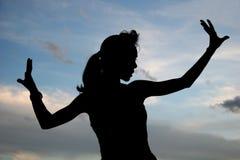 silhouettekvinna Arkivfoto