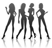 silhouettekvinnor Royaltyfria Bilder