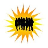 silhouettekvinnor för grupp s Royaltyfria Bilder