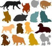 Silhouetten 01 van de kat en van de hond royalty-vrije stock foto's