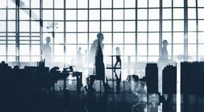 Silhouetten Bedrijfsmensen die Samenwerkingsconcept werken Stock Foto