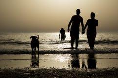 Silhouetten bij het Strand stock foto