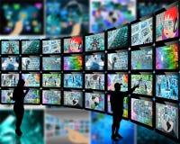 Silhouetten en de schermen Stock Afbeelding