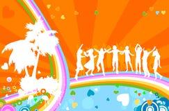 Silhouetten en regenboog royalty-vrije illustratie