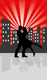 Silhouetten in liefde Royalty-vrije Stock Foto's