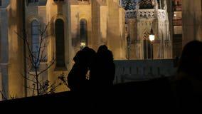 Silhouetten, nacht, minnaars stock video
