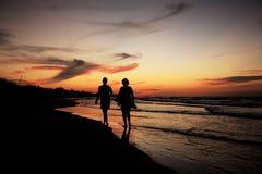 Silhouetten op Varadero Strand Stock Foto's