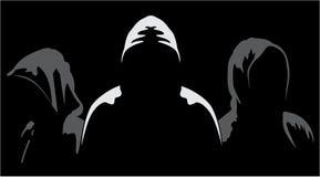 Silhouetten van anonieme drie Stock Afbeeldingen