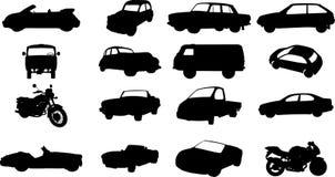 Silhouetten van auto's, motorfietsen en bussen Royalty-vrije Stock Afbeelding