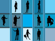 Silhouetten van bedrijfsmensen Stock Fotografie