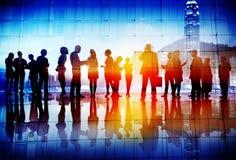 Silhouetten van Bedrijfsmensen die Bezig Concept werken Stock Foto's