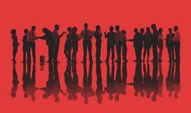 Silhouetten van Bedrijfsmensen die Concept werken Royalty-vrije Stock Afbeeldingen