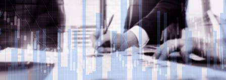 Silhouetten van bedrijfsmensen Effectenbeursgrafiek en de Grafiek van de Barkandelaar stock illustratie