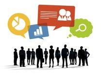Silhouetten van Bedrijfsmensen met Bedrijfssymbolen Stock Foto's