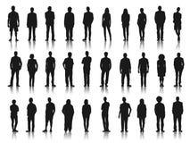 Silhouetten van Bedrijfsmensen op een rij Stock Foto's