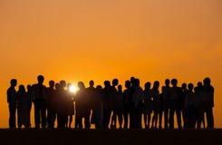 Silhouetten van Bedrijfsmensen in openlucht Stock Afbeelding