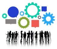 Silhouetten van Bedrijfsmensen Team Working Royalty-vrije Stock Afbeelding