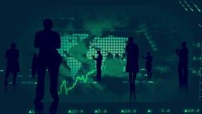 Silhouetten van bedrijfsmensen tegen effectenbeursgrafiek vector illustratie