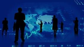 Silhouetten van bedrijfsmensen tegen effectenbeursgrafiek royalty-vrije illustratie
