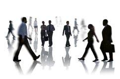 Silhouetten van Bedrijfsmensenspitsuur Royalty-vrije Stock Afbeelding