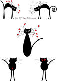 Silhouetten van beeldverhaal de zwarte katten Stock Afbeeldingen