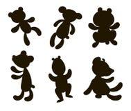 Silhouetten van beren zes stukken Royalty-vrije Stock Foto's