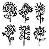 Silhouetten van bloemen Stock Afbeelding