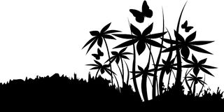 Silhouetten van bloemen Stock Afbeeldingen