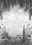 Silhouetten van bloemen op een grijze achtergrond Illustratie Vector Illustratie