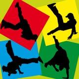 Silhouetten van breakdancers Stock Foto