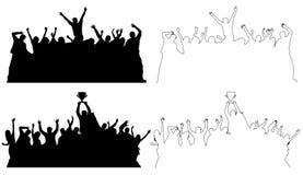 Silhouetten van dansende volkeren, overzicht royalty-vrije illustratie