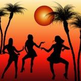 Silhouetten van dansende vrouwen Stock Afbeeldingen