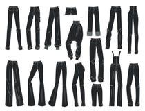 Silhouetten van de broeken en de borrels van vrouwen Stock Foto