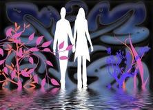 Silhouetten van de mens en vrouw Royalty-vrije Stock Afbeelding