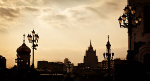 Silhouetten van de stad van Moskou royalty-vrije stock foto's