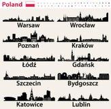 Silhouetten van de stadshorizonnen van Polen de grootste royalty-vrije illustratie