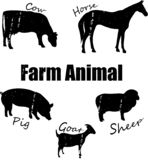 Silhouetten van dieren van het landbouwbedrijf, royalty-vrije illustratie