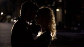 Silhouetten van echtgenoot en vrouwen het nuzzling, romantische datum, liefdeverhouding stock foto