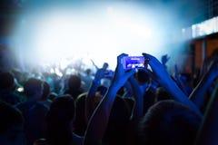 Silhouetten van een menigte royalty-vrije stock foto