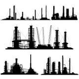 Silhouetten van eenheden voor industrieel deel van stad. Royalty-vrije Stock Foto's