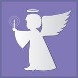 Silhouetten van engelen Document kunst en ambachtstijl royalty-vrije illustratie