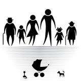 Silhouetten van familie Stock Afbeelding