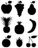 Silhouetten van fruit Stock Afbeelding