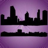 silhouetten van gebouwen en huizen Stock Foto's