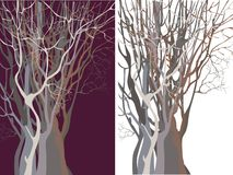 Silhouetten van gedrongen bomen Royalty-vrije Stock Afbeelding