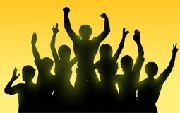 Silhouetten van gelukkige mensen Stock Foto's