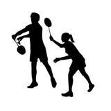 Silhouetten van gemengd Team Badminton Players gemengd stock illustratie
