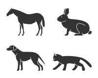 Silhouetten van geplaatste de pictogrammen van cijfersdieren Stock Afbeelding